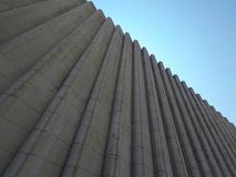 Gray concrete background. Blue sky stock photography