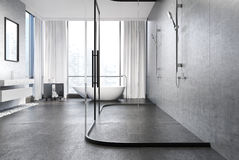 Gray concrete bathroom, shower Stock Images