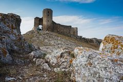 Gray Concrete Castle Under Blue and White Sky stock photography