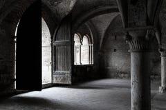 Gray Concrete Column Inside Vintage Building Royalty Free Stock Photo