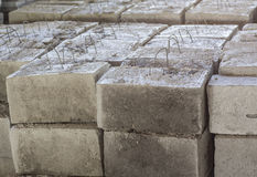 Gray concrete construction block Stock Images