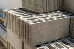 Gray concrete construction blocks Royalty Free Stock Photos