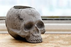 Gray concrete human skulls on background. A skull made of cement for home decor. Concrete human skulls on background. A skull made of cement for home decor stock photo
