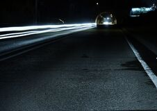 Gray Concrete Road during Night Time Royalty Free Stock Image