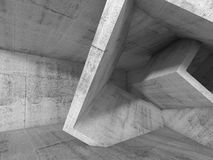 Gray Concrete room with 3d cubic structures Royalty Free Stock Photo