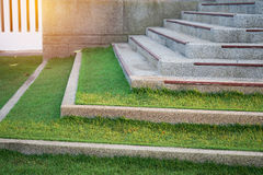 Gray concrete stairs with green grass. In soft focus Stock Images