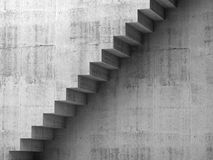 Gray concrete stairway on the wall, 3d interior Stock Images