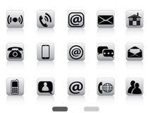 Gray contact buttons icon set Stock Photos