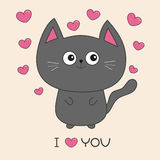 Gray contour cat holding pink heart. I love you text. Cute cartoon character. Kawaii animal Pet collection. Flat design. Royalty Free Stock Image