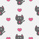 Gray contour cat holding pink heart set. Kawaii animal Cute cartoon character. Pet collection. Seamless Pattern White background. Royalty Free Stock Image