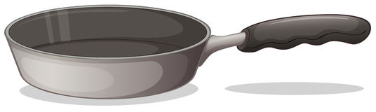A gray cooking pan. Illustration of a gray cooking pan on a white background Stock Photos