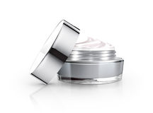 Gray cosmetic jar and cream Royalty Free Stock Image