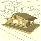 Gray country cottage in style 3d Stock Image