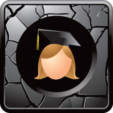Gray cracked web button cartoon graduate girl Royalty Free Stock Image