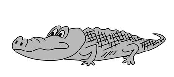 Gray crocodile. On white background, vector illustration stock illustration