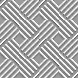 Gray crossed lines and squares seamless. Seamless abstract background. White crossed lines with cut out of paper effect and realistic shadow on gray Stock Image