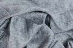 Gray crumpled linen background Stock Photos