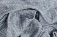 Gray crumpled linen background Stock Photos