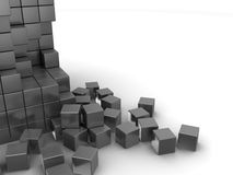 Gray cubes background. Abstract 3d illustration of cubes construction background Stock Photo