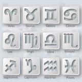 Gray 3D signs of zodiac.Horoscope set.Vector. Illustration Royalty Free Stock Photography