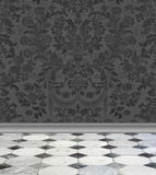 Gray  Damask Wall and Marble Floor. Elegant charcoal gray damask wallpaper with gray and white marble floor Stock Images