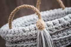 Gray Decorative Knitted Basket Fotografia de Stock Royalty Free