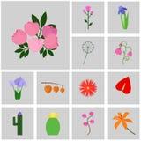 Gray delle icone, quadrato, Fiore stabilito dell'icona di vettore Peonia dell'icona, rosa Immagini Stock Libere da Diritti