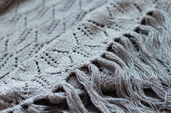Gray detail of woven handicraft knit shawl Stock Images