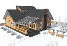 Gray di modello della casa di architettura con l'ambiente Immagini Stock Libere da Diritti