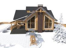 Gray di modello della casa di architettura con l'ambiente Immagini Stock