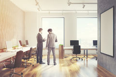 Gray diamond wall open office, men, side Stock Image