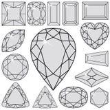 Gray diamonds collection Stock Photos
