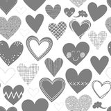 Gray different shaped hearts on white seamless p Stock Images