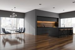 Gray dining room and kitchen corner, cityscape. Gray dining room and kitchen corner with panoramic windows, a table with dark chairs near it and countertops. A vector illustration
