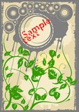 Gray Disks Green Leaves. Old Page. Flayer. Vector Illustration. No Meshes Royalty Free Stock Photo