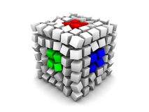Gray distorted cube RGB. Gray distorted cube made of smaller cubes of same size with three RGB (red, green, blue) segments on white background Stock Photography