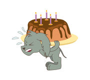 Gray dog carries a heavy chocolate cake. Vector illustration Royalty Free Stock Photo