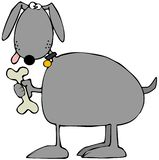 Gray dog holding a biscuit vector illustration