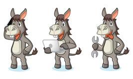 Gray Donkey Mascot met hulpmiddelen royalty-vrije illustratie