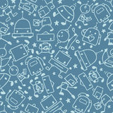 Gray doodle robots seamless pattern background Royalty Free Stock Photos