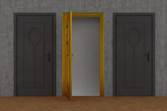 Gray door and gold door Stock Photo