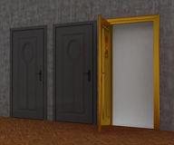 Gray door and gold door Royalty Free Stock Photography