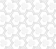 Gray dotted three pedal pointy flowers with center Stock Photo