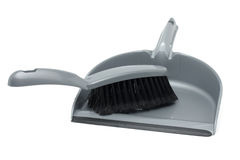 Gray dustpan and  brush Royalty Free Stock Photo
