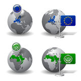 Gray Earth globes with designation of European Union and Arab League countries Stock Photos
