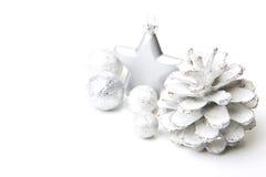 Gray ed argento della decorazione di Natale Fotografia Stock Libera da Diritti