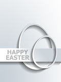 Gray egg shapes beside Happy Easter label Stock Image