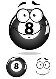 Gray eight pool ball character. With smiling face isolated on white background for sport mascot design Vector Illustration