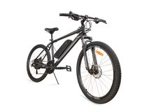 Gray electric bike isolated with clipping path. Gray electric bike angle view. Isolated on white, clipping path included stock images