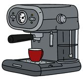 The gray electric espresso maker. The vectorized hand drawing of a gray electric espresso maker and the red coffee cup royalty free illustration